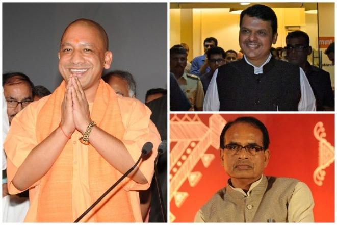 <p>Yogi Adityanath (Subhankar Chakraborty/Hindustan Times via GettyImages); Devendra Fadnavis (Vijayanand Gupta/Hindustan Times via GettyImages); Shivraj Singh Chouhan (Praveen Bajpai/Hindustan Times via GettyImages)</p>