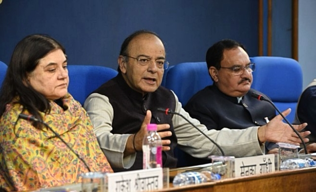 Finance Minister Arun Jaitley (centre) with Women and Child Development Minister Maneka Gandhi (left) and Health Minister J P Nadda. (Mohd Zakir/Hindustan Times via Getty Images)