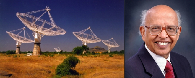 Astrophysicist Dr Govind Swarup and the Giant Metrewave Radio Telescope (GMRT) array, Pune.