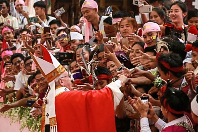 Pope Francis in Yangon, Myanmar. (CBCM/Getty Images)