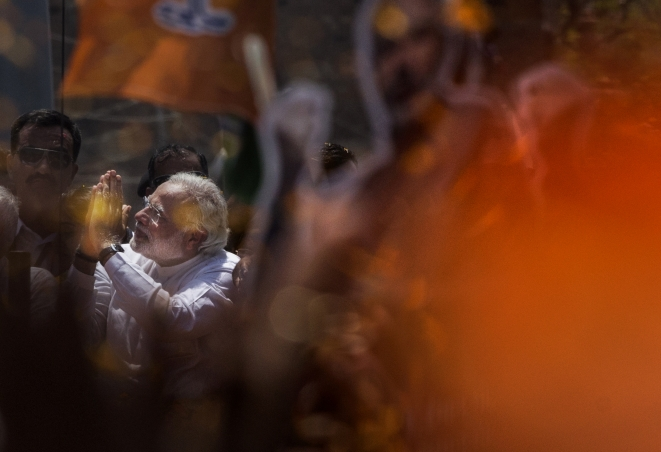 Prime Minister Modi at an election rally. (Gettyimages)